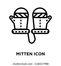 Mitten icon vector isolated on white background, Mitten transparent sign , linear symbol and stroke design elements in outline style