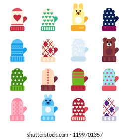 Mitten icons. Vector set illustration of different knitted mittens on white background. Flat style vector illustration.