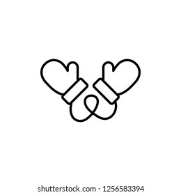 mitten mittens glove gloves pair potholder hand arm care thin line outline black icon on white background