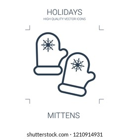 mittens icon. high quality line mittens icon on white background. from holidays collection flat trendy vector mittens symbol. use for web and mobile