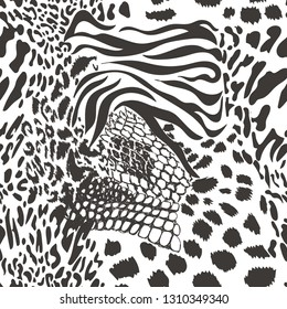 Mix animal skin. Prints, Leopard, Snake, Zebra,Tiger, crocodile. Safari africa seamless pattern, vector design for fashion, fabric and all prints on white background
