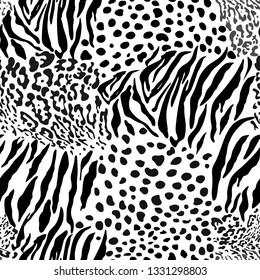 Mix animal skin prints, tiger, leopard, jaguar seamless pattern vector design.