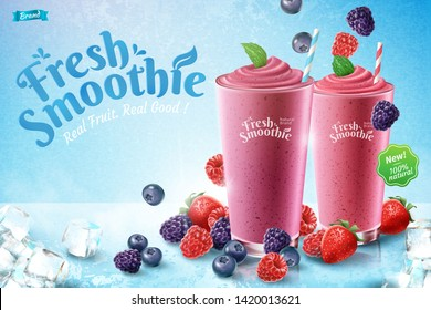 Mix berry smoothie ads with rich berries and ice cubes in 3d illustration