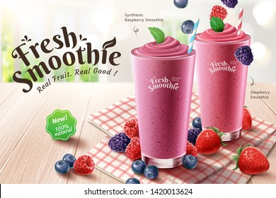 Mix berry smoothie ads with rich berries on wooden table in 3d illustration