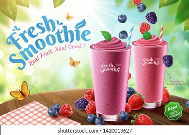 Mix berry smoothie ads with rich berries on wooden table and bokeh nature background in 3d illustration