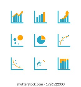 Mix concept graph chart and data analytics icon for infographic information presentation