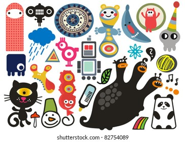 Mix of different vector images and icons. vol.17