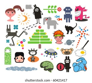 Mix of different vector images. vol.3