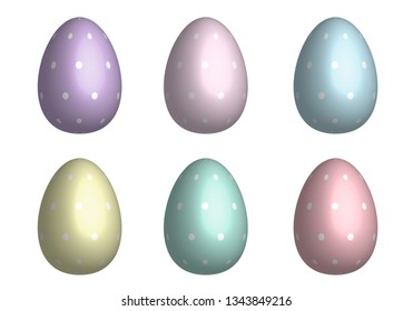 Mix Easter eggs for Easter holidays dot pattern in pastel color and 3D design isoleted in white background