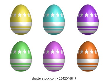 Mix Easter eggs for Easter holidays line star pattern in colorful and 3D design isoleted in white background