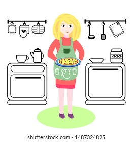 Mix of flat illustration and black line icon. Cooking time, pizza, kitchen.