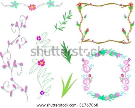 Mix Floral Frames Designs Vector Stock Vector (Royalty Free ...