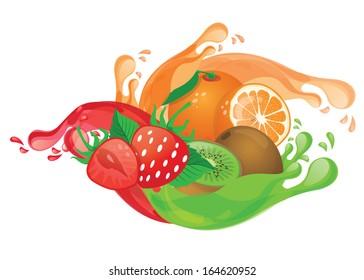 mix fruit juice vector
