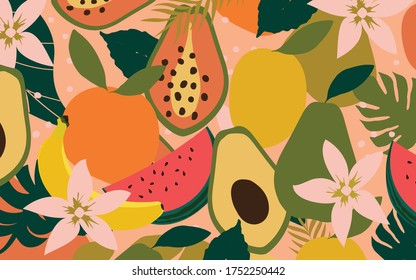 Mix of fruits colorful background vector illustration. Tropical fruit poster with banana, orange, lemon, pear, papaya, avocado and watermelon
