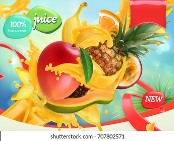 Mix fruits. Splash of juice. Mango, banana, pineapple, papaya. 3d realistic vector, package design