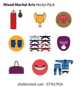 Mix Martial Arts Icons Set. Vector Illustration.