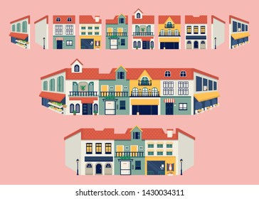 Mix and match colorful city buildings