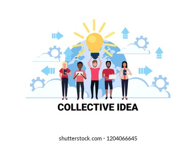 mix race business people brainstorming new collective idea concept light lamp creative innovation startup project successful teamwork strategy flat horizontal vector illustration