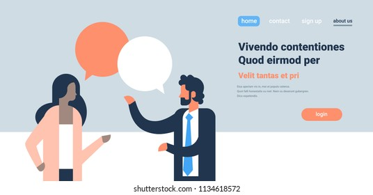 mix race couple chat bubbles communicating speech dialogue man woman character background portrait copy space horizontal flat vector illustration