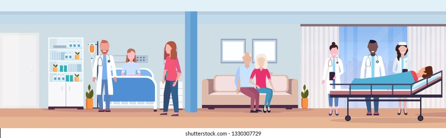 mix race doctors visiting patients man woman lying in bed intensive therapy ward healthcare concept hospital room interior modern medical clinic horizontal banner