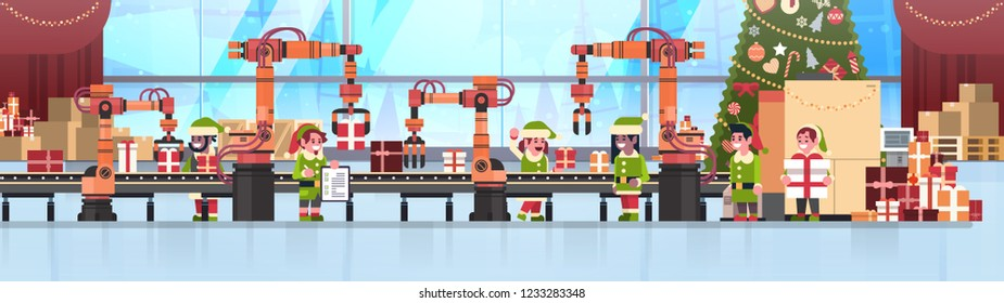 mix race elves santa claus helper hold checklist teamwork conveyor system industry new year merry christmas concept flat horizontal banner vector illustration