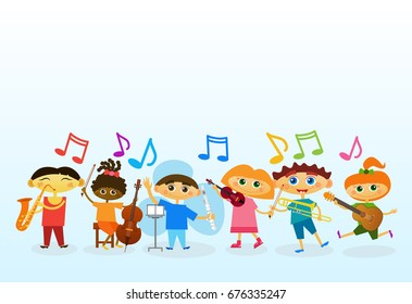 Mix Race Kids Group Playing Different Musical Instruments Colorful Banner With Copy Space Flat Vector Illustration
