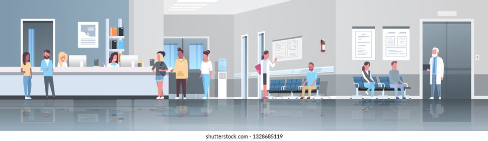 mix race patients standing line queue at hospital reception desk waiting hall doctors consultation healthcare concept medical clinic interior full length horizontal banner flat vector illustration