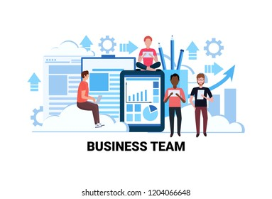 mix race people brainstorming financial graphs analytic teamwork successful business team concept flat horizontal vector illustration