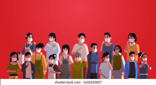 mix race people crowd in protective masks epidemic MERS-CoV stop coronavirus concept wuhan 2019-nCoV pandemic medical health risk portrait horizontal vector illustration