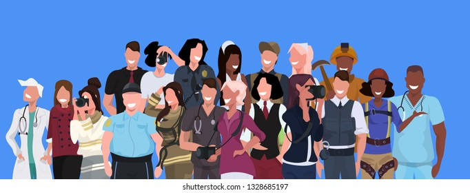 mix race people group different occupation standing together over blue background male female workers portrait horizontal banner flat