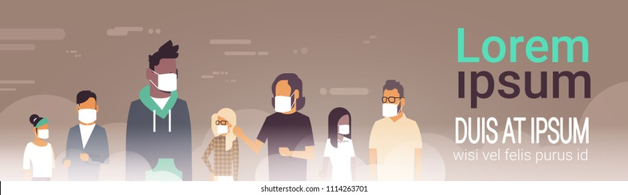 mix race people group in mask over smog nature air pollution city landscape atmosphere male female over grey background portrait copy space banner flat