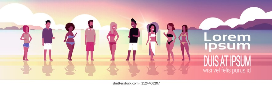 mix race people group on sunset beach seaside vacation summer holiday horizontal banner copy space flat vector illustration