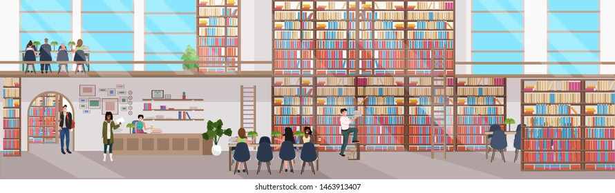 mix race people reading books men women visiting bookstore with bookshelves modern library interior flat horizontal banner full length