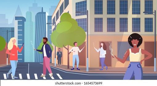 mix race people smoking marijuana joint drugs consumption legalization cannabis addiction concept modern city street cityscape background full length horizontal vector illustration