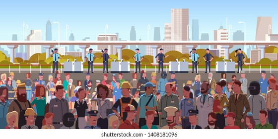 mix race police officers group controlling different occupations people crowd at protest demonstration strike labor day concept city street cityscape background horizontal portrait