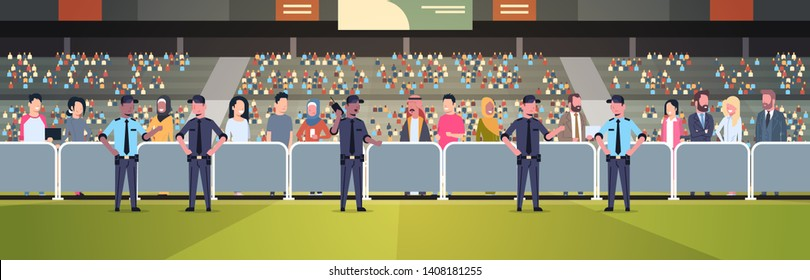 mix race police officers group controlling fans crowd on sport stadium arena at football match championship safety support concept flat horizontal full length