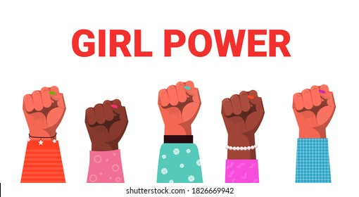 mix race raised up women's fists female empowerment movement girl power union of feminists concept horizontal vector illustration