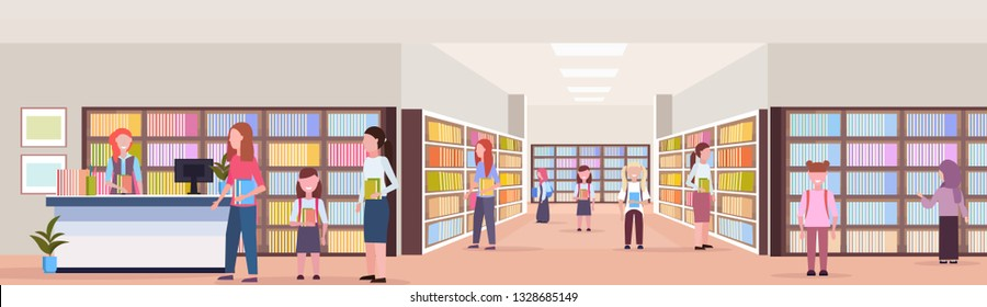 mix race students borrowing books from librarian modern library bookstore interior reading education knowledge concept flat full length horizontal banner