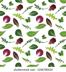Mix of salad leaves. Arugula, spinach, lettuce leaf, watercress and radicchio. Seamless pattern. Vector illustration.