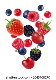 Mix sweet berries, vector image realistic