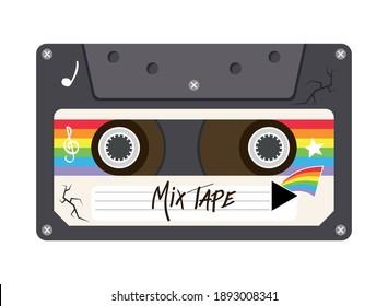 mix tape retro cassette design, Music vintage and audio theme Vector illustration