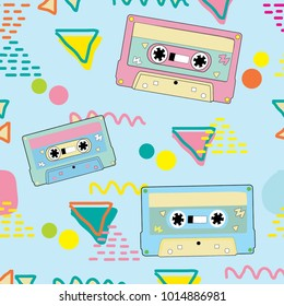 mix tape vector, cassette vector pattern
