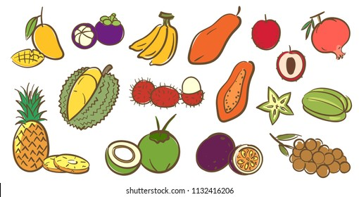 Mix tropical fruits collection, cute colorful vector illustration in cartoon style