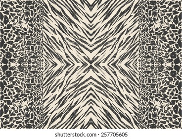 Mixed animal prints ,zebra skin with abstract pattern