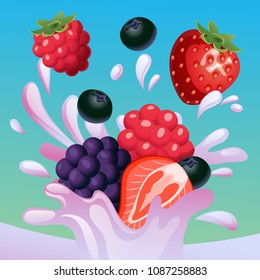 mixed berry splash vector
