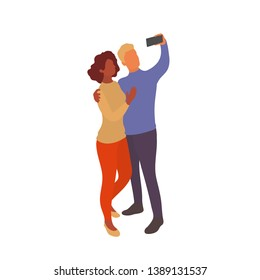 Mixed couple taking selfie together with smartphone. Interracial partners take photo with eath other on a walk or while traveling. Vector flat characters isolated on white background in EPS 10