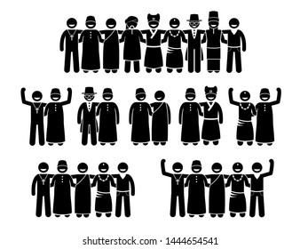Mixed culture, multiracial, multicultural, and peaceful religions of human standing together. Vector artwork depicts people of different religions standing united together to promote a peaceful world.