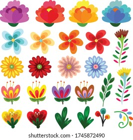 mixed cute flowers bloom flat style collection vector illustration