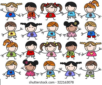 mixed ethnic children seamless background