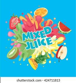 Mixed fruit juice splash with strawberry, orange, watermelon, apple, pineapple and kiwi